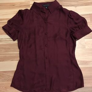 Classic Burgundy Short Sleeve Button-Front Top